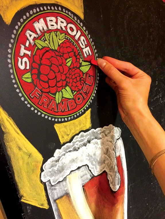 Beer chalk art of St. Ambroise by Alana McCarthy.