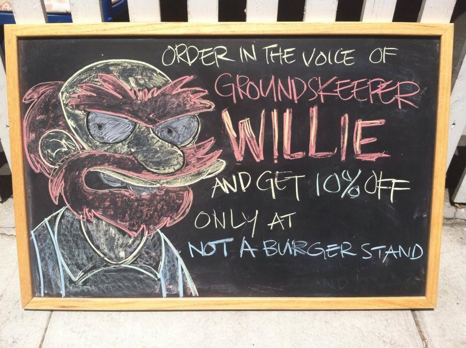 Groundskeeper Willie chalk art.