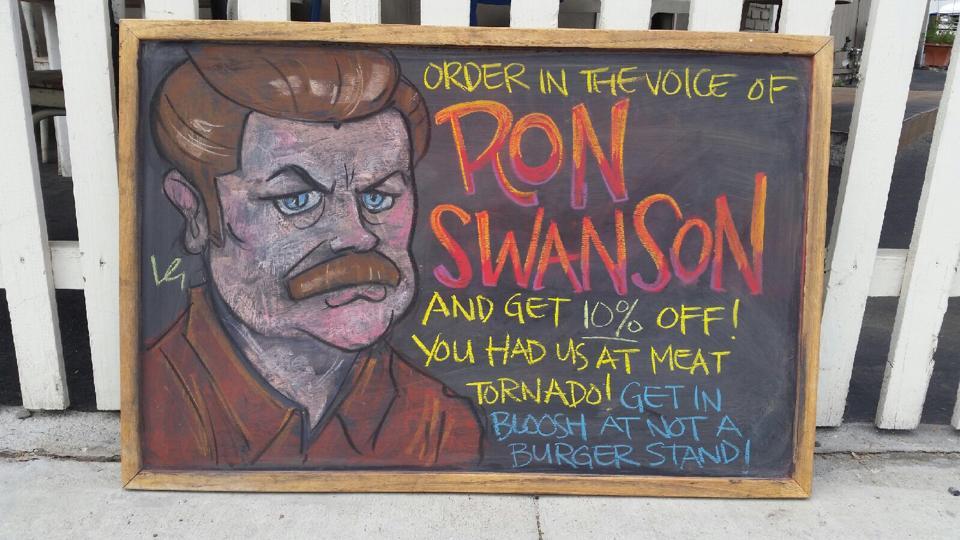 Ron Swanson chalk art.