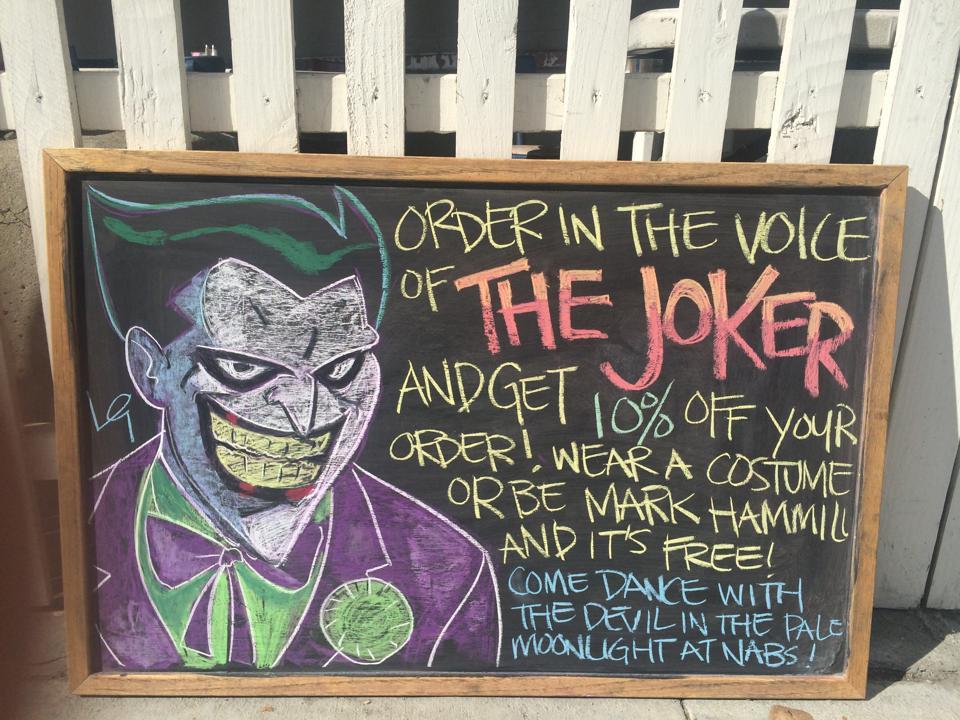 The Joker chalk art.